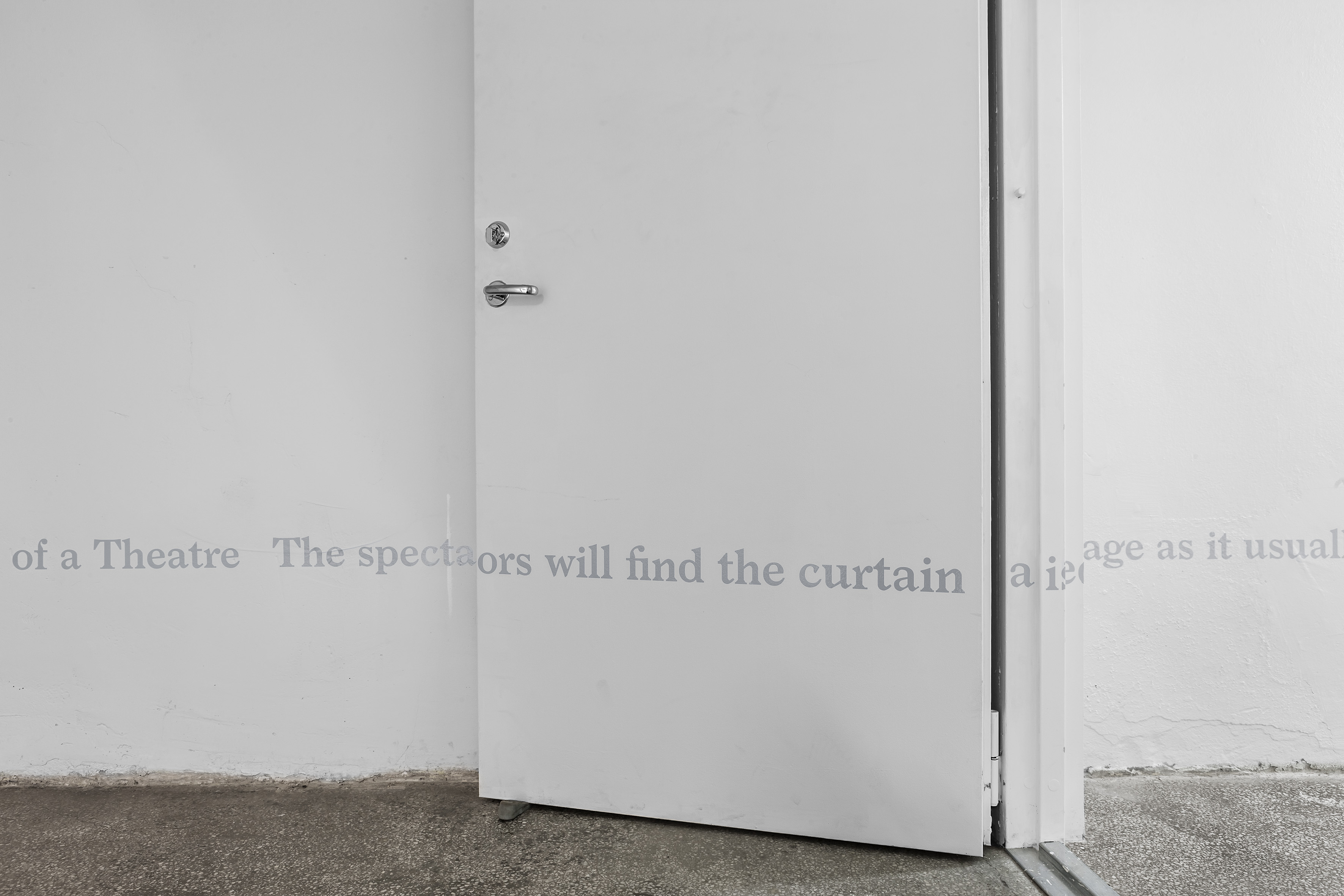 Installation view : Neil Doshi, Scenes From Scenes From a Play, 2015, vinyl wall text