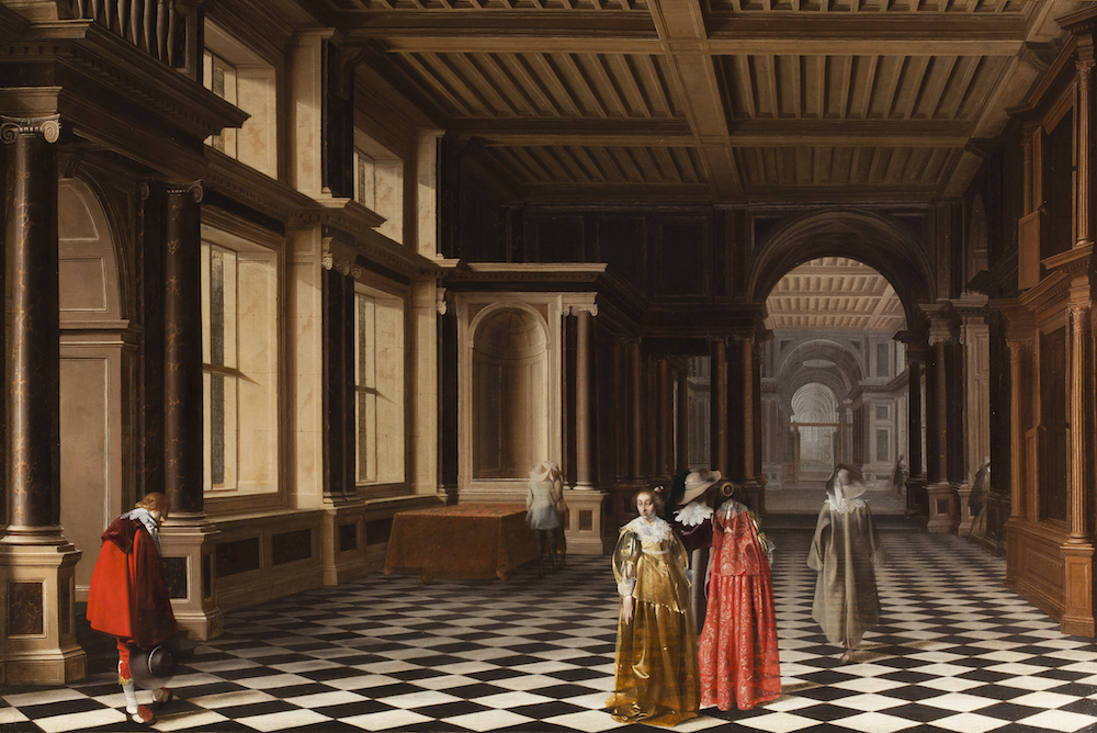 Pieter W. Van der Stock and Willem C. Duyster, Elegant Figures in a Classical Colonnaded Gallery, 1632