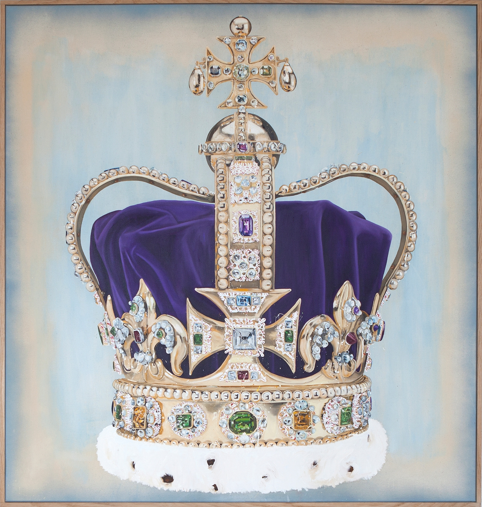 Lars Bjerre_2The Robbery (St. Edwards Crown), Oil, pigment & spray on canvas. 160x150 cm. Oak frame (163x153x4 cm). 2015