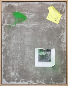 Habitat 1, 2015, cemento, resina, calcestruzzo, acrilico e carta su tavola, 94x74 cm